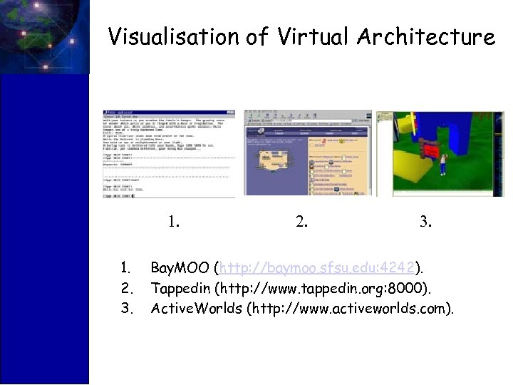 Visualisation of Virtual Architecture 1. 1. 2. 3. 2. 3. Bay. MOO (http: //baymoo.