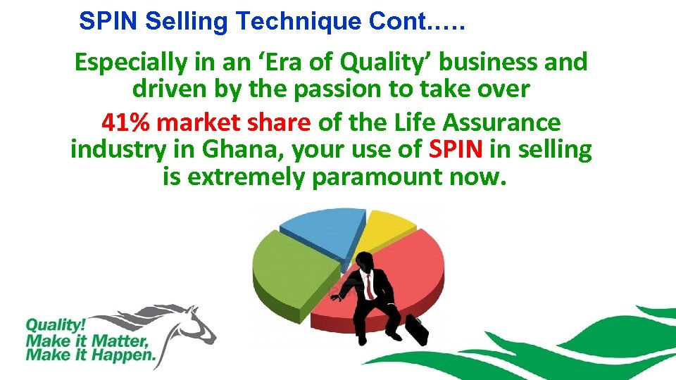 SPIN Selling Technique Cont. …. Especially in an 'Era of Quality' business and driven
