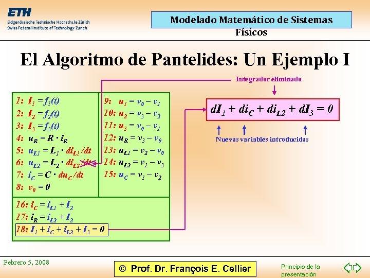 Modelado Matemático de Sistemas Físicos El Algoritmo de Pantelides: Un Ejemplo I Integrador eliminado