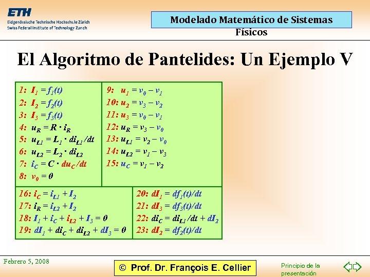 Modelado Matemático de Sistemas Físicos El Algoritmo de Pantelides: Un Ejemplo V 1: 2: