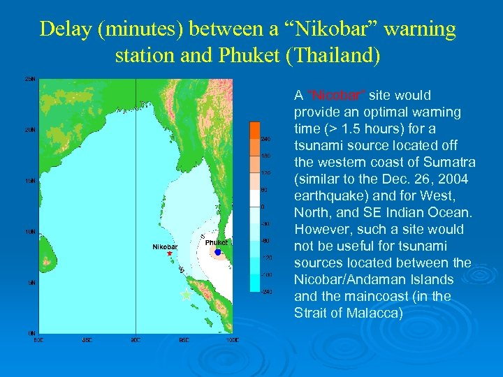 "Delay (minutes) between a ""Nikobar"" warning station and Phuket (Thailand) A ""Nicobar"" site would"