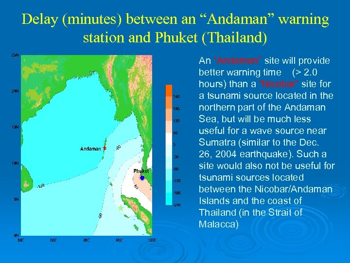 "Delay (minutes) between an ""Andaman"" warning station and Phuket (Thailand) An ""Andaman"" site will"
