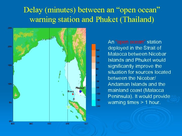 "Delay (minutes) between an ""open ocean"" warning station and Phuket (Thailand) An ""open ocean"""