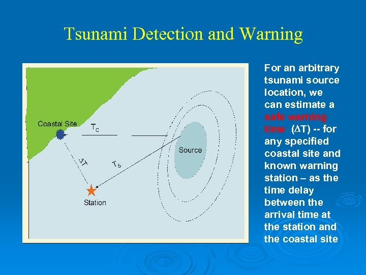 Tsunami Detection and Warning For an arbitrary tsunami source location, we can estimate a