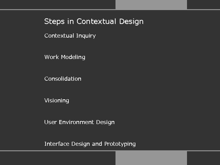 Steps in Contextual Design Contextual Inquiry Work Modeling Consolidation Visioning User Environment Design Interface
