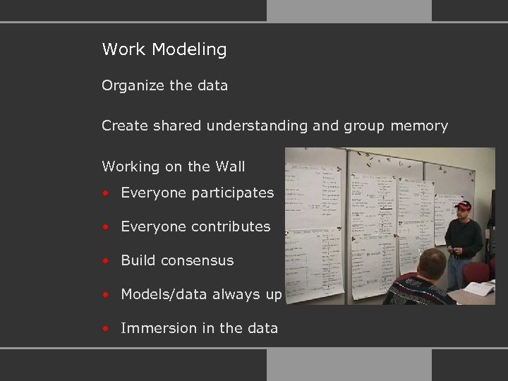 Work Modeling Organize the data Create shared understanding and group memory Working on the