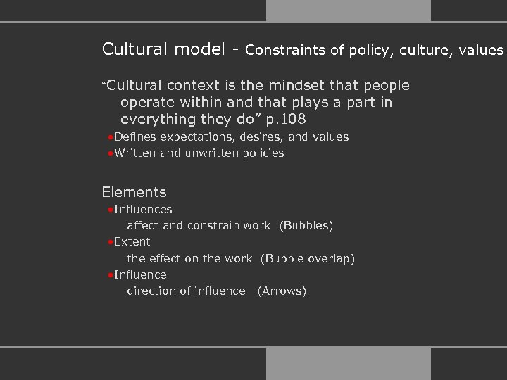 "Cultural model - Constraints of policy, culture, values ""Cultural context is the mindset that"