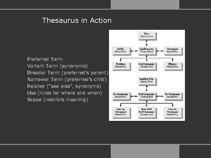 Thesaurus in Action Preferred Term Variant Term (synonyms) Broader Term (preferred's parent) Narrower Term