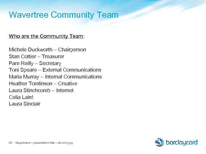 Wavertree Community Team Who are the Community Team: Michele Duckworth – Chairperson Stan Cottier