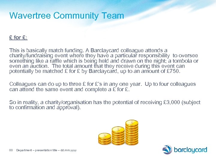 Wavertree Community Team £ for £: This is basically match funding. A Barclaycard colleague