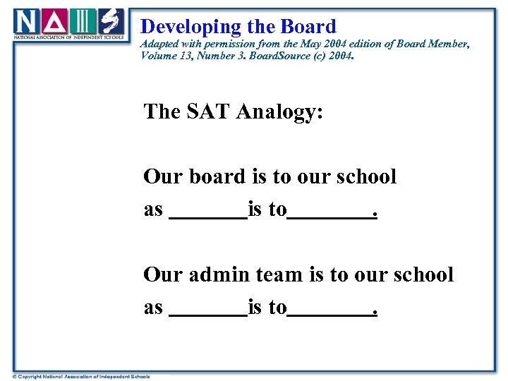 Developing the Board Adapted with permission from the May 2004 edition of Board Member,