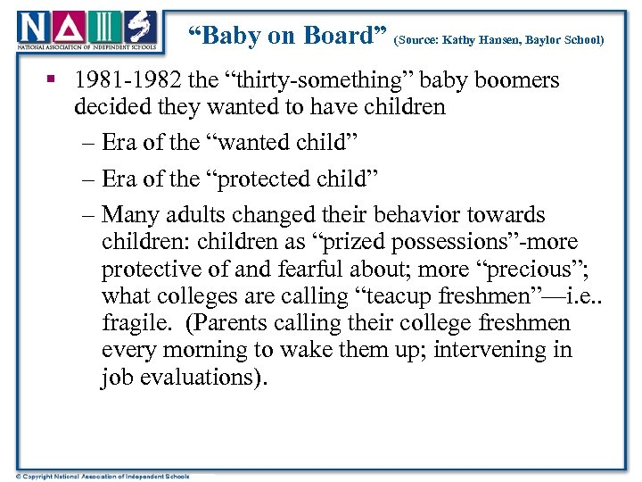 """Baby on Board"" (Source: Kathy Hansen, Baylor School) § 1981 -1982 the ""thirty-something"" baby"