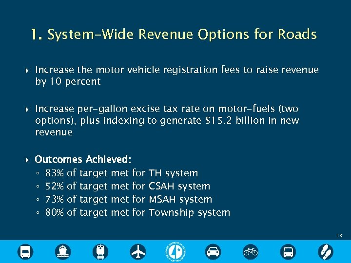 1. System-Wide Revenue Options for Roads Increase the motor vehicle registration fees to raise