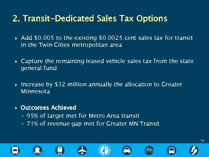 2. Transit-Dedicated Sales Tax Options Add $0. 005 to the existing $0. 0025 cent