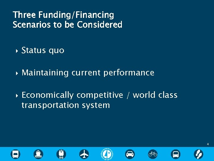Three Funding/Financing Scenarios to be Considered Status quo Maintaining current performance Economically competitive /