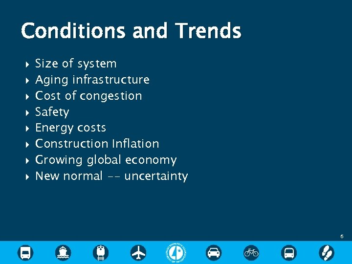 Conditions and Trends Size of system Aging infrastructure Cost of congestion Safety Energy costs