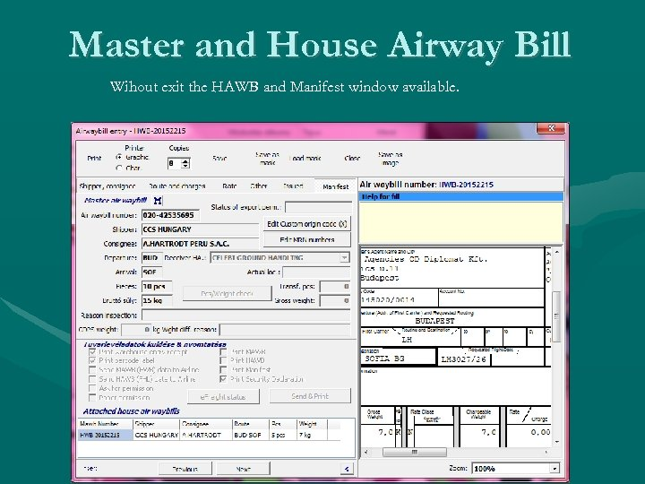 Master and House Airway Bill Wihout exit the HAWB and Manifest window available.