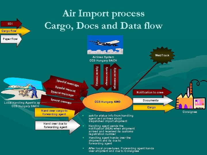 EDI Cargo flow Air Import process Cargo, Docs and Data flow Paper flow Web.