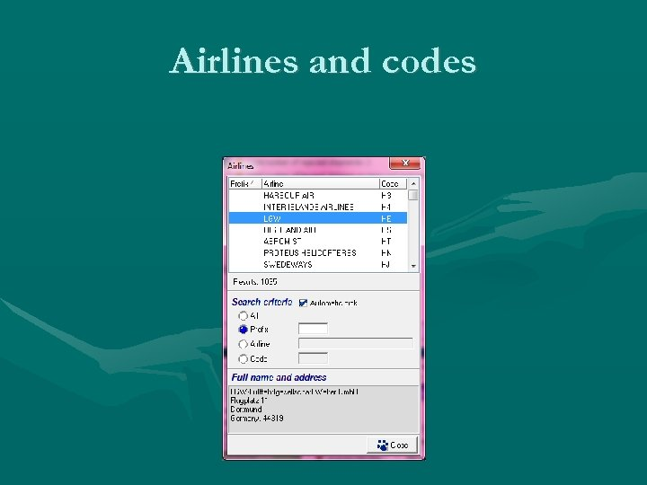 Airlines and codes