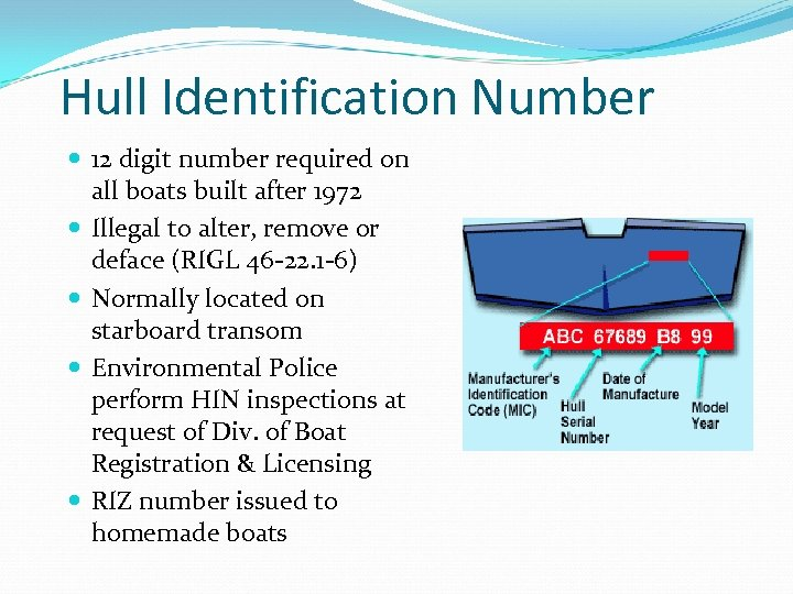 Hull Identification Number 12 digit number required on all boats built after 1972 Illegal