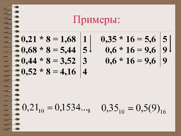 Примеры: 0, 21 * 8 = 1, 68 0, 68 * 8 = 5,