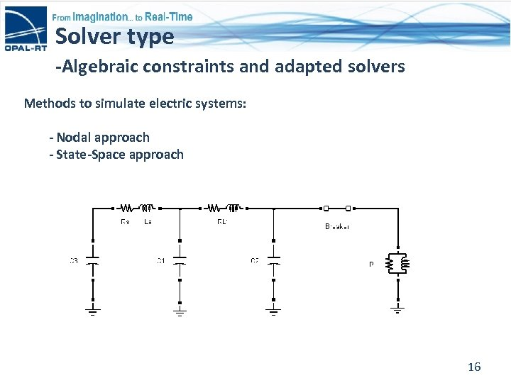 Solver type -Algebraic constraints and adapted solvers Methods to simulate electric systems: - Nodal