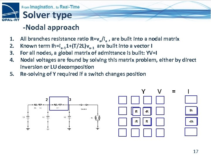 Solver type -Nodal approach 1. 2. 3. 4. 5. All branches resistance ratio R=vn/in