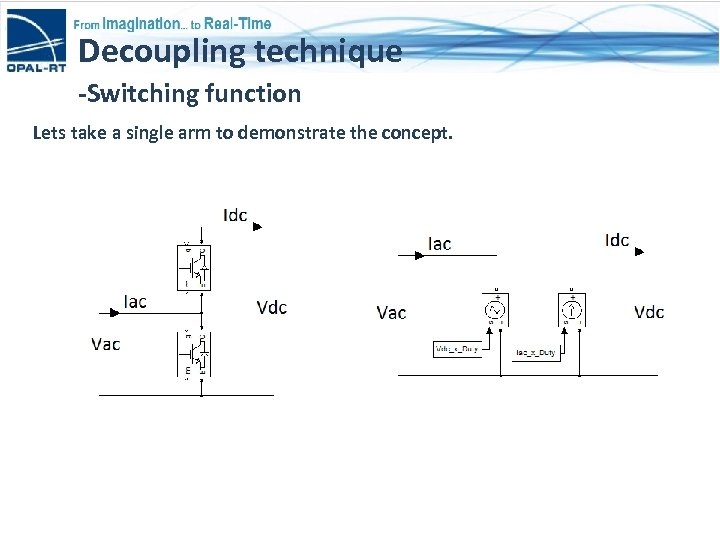 Decoupling technique -Switching function Lets take a single arm to demonstrate the concept.