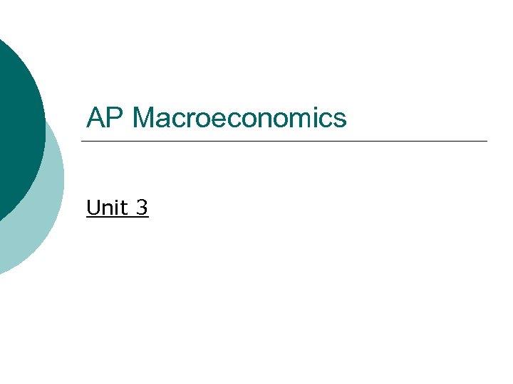 AP Macroeconomics Unit 3