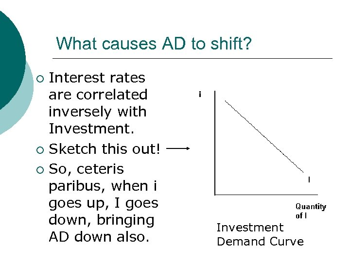 What causes AD to shift? Interest rates are correlated inversely with Investment. ¡ Sketch
