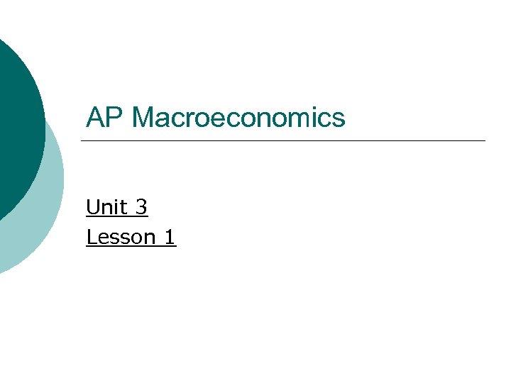 AP Macroeconomics Unit 3 Lesson 1