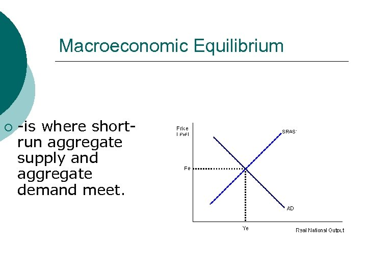 Macroeconomic Equilibrium ¡ -is where shortrun aggregate supply and aggregate demand meet.