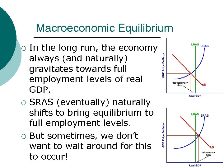 Macroeconomic Equilibrium ¡ ¡ ¡ In the long run, the economy always (and naturally)