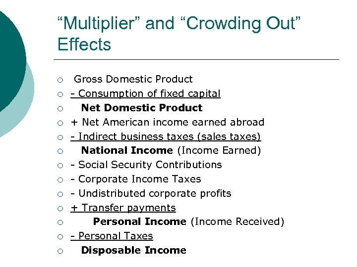 """""""Multiplier"""" and """"Crowding Out"""" Effects ¡ ¡ ¡ ¡ Gross Domestic Product - Consumption"""