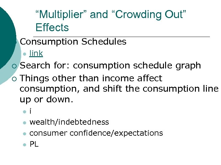 """""""Multiplier"""" and """"Crowding Out"""" Effects ¡ Consumption Schedules l link Search for: consumption schedule"""