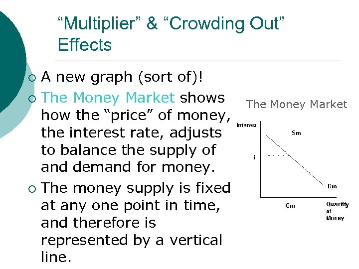 """""""Multiplier"""" & """"Crowding Out"""" Effects A new graph (sort of)! ¡ The Money Market"""