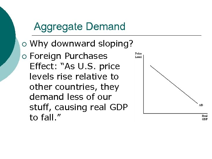 """Aggregate Demand Why downward sloping? ¡ Foreign Purchases Effect: """"As U. S. price levels"""