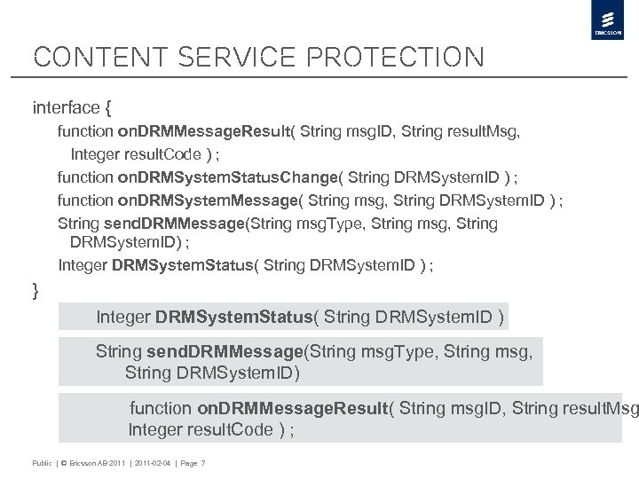 Content Service Protection interface { function on. DRMMessage. Result( String msg. ID, String result.