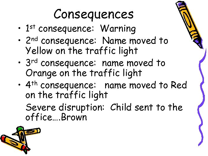 Consequences • 1 st consequence: Warning • 2 nd consequence: Name moved to Yellow