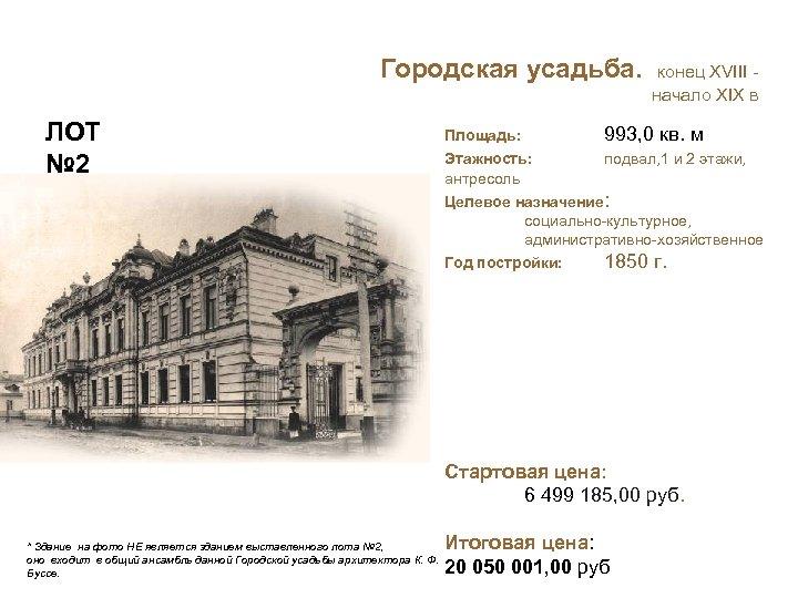 Городская усадьба. конец XVIII - начало XIX в ЛОТ № 2 Площадь: 993, 0