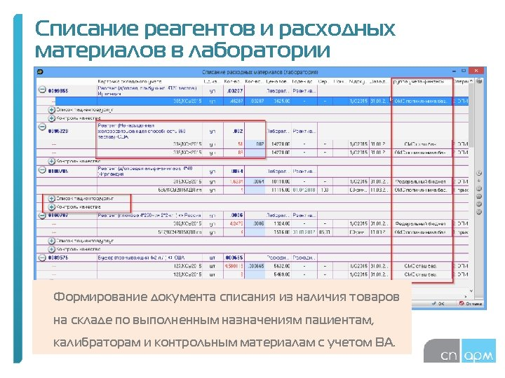 Списание реагентов и расходных материалов в лаборатории Формирование документа списания из наличия товаров на