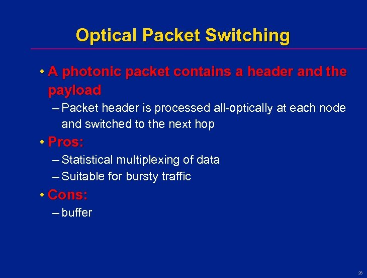 Optical Packet Switching • A photonic packet contains a header and the payload –