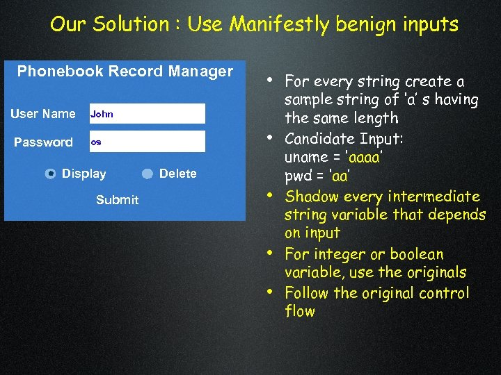 Our Solution : Use Manifestly benign inputs Phonebook Record Manager User Name Password •