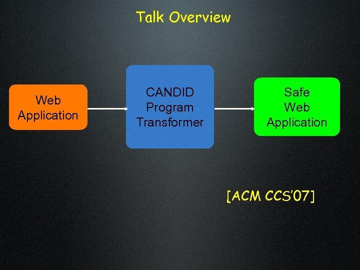 Talk Overview Web Application CANDID Program Transformer Safe Web Application [ACM CCS' 07]