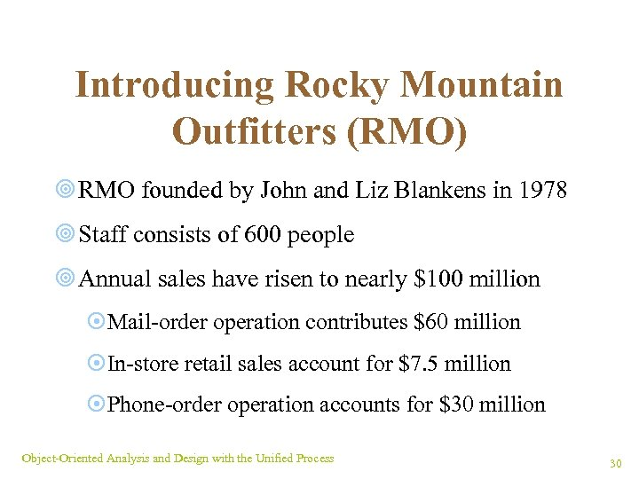 Introducing Rocky Mountain Outfitters (RMO) ¥ RMO founded by John and Liz Blankens