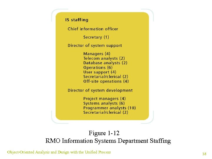 Figure 1 -12 RMO Information Systems Department Staffing Object-Oriented Analysis and Design with the