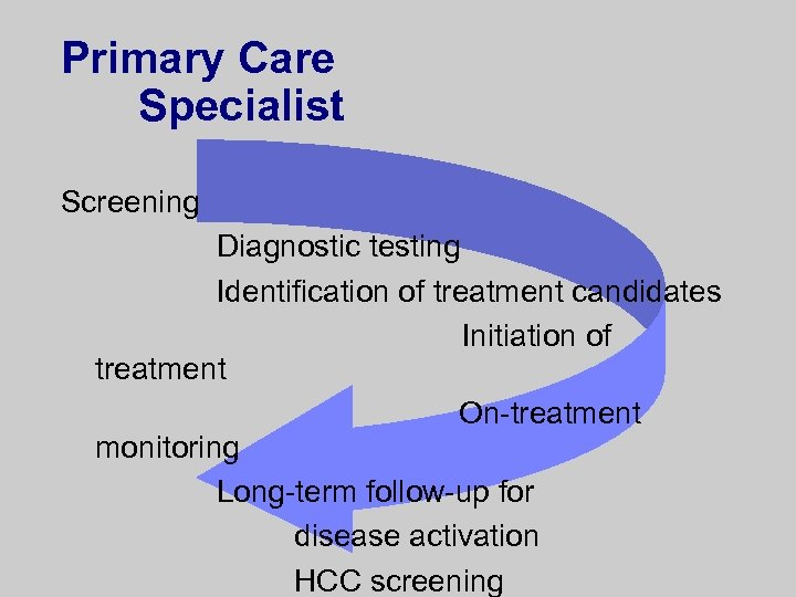 Primary Care Specialist Screening Diagnostic testing Identification of treatment candidates Initiation of treatment On-treatment