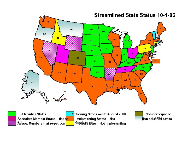Streamlined State Status 10 -1 -05 WA MT ME ND MN OR VT ID