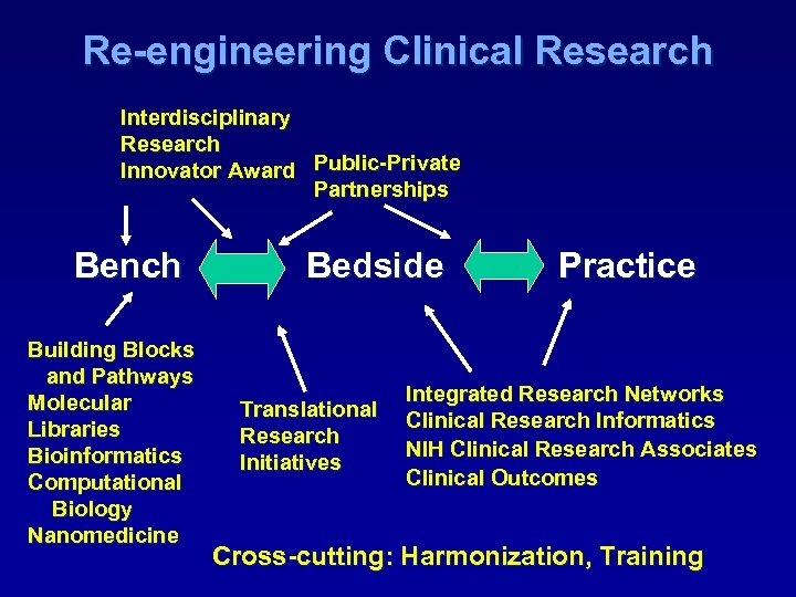 Re-engineering Clinical Research Interdisciplinary Research Innovator Award Public-Private Innovator Award Partnerships Bench Building Blocks