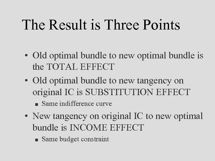 The Result is Three Points • Old optimal bundle to new optimal bundle is